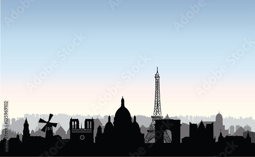 Photo  Paris city buildings silhouette. French urban landscape. Paris c