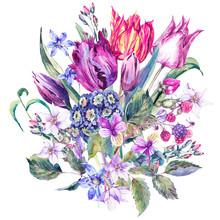 Vintage Flowers Watercolor Bou...