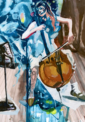 Fototapeta Muzyka / instrumenty Tempera technique on paper. An hand painted picture, illustration. Music theme. Musician - Cello, violin, player.