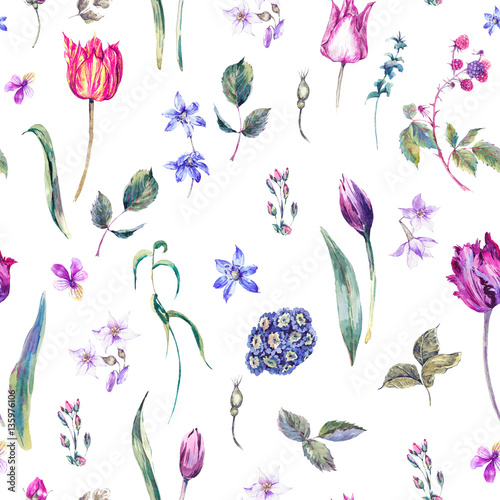 vintage-flowers-watercolor-seamless-pattern-purple-tulips