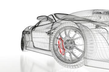 fototapeta samochód siatki 3D