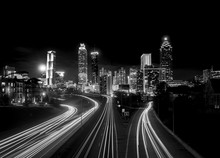 Atlanta Skyline At Night, High Contrast