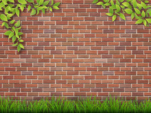 Grass And Tree Branches On Red Brick Wall Background.