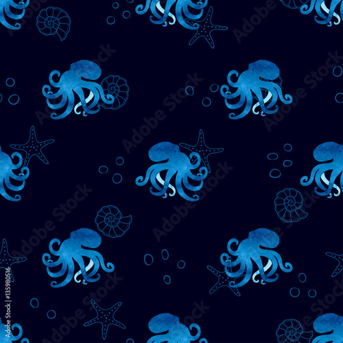 watercolor-blue-seamless-pattern-with-octopus