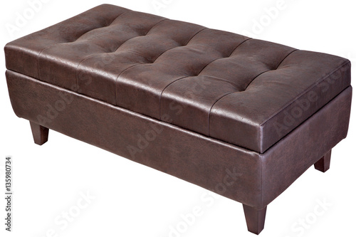 Fotografia  Modern, dark brown, button tufted leatherette bench ottoman upho