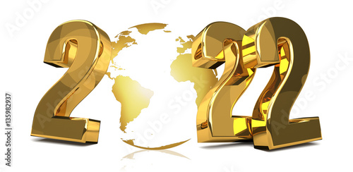 Fotografia  2022 golden worldwide global symbol 3d render