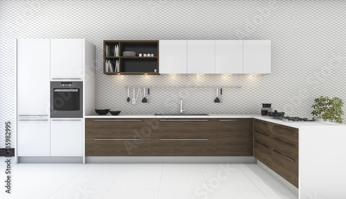 3d Rendering Wooden Decor Kitchen With Nice Wallpaper Buy This