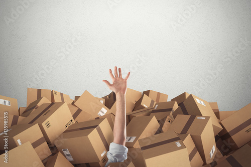 Man buried by a stack  of cardboard boxes. 3D Rendering Canvas Print