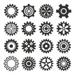 Gear icons silhouette isolated vector illustration.