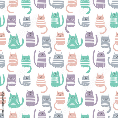 Cats seamless vector pattern