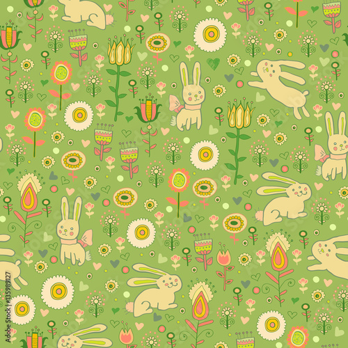 Cotton fabric Ostern gentle rabbit seamless pattern