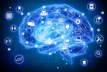 Machine Learning , Artificial Intelligence , Ai , Deep Learning And Future Concept. Wireframe Brain Connect With Circuit Electronic Graphic , Binary Code And Technology Icons Background.Blue Tone
