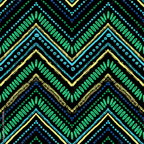 Cotton fabric Stripes bright tribal seamless pattern with zigzag