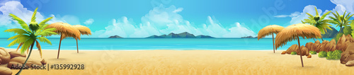 Sea panorama, Tropical beach. Vector background