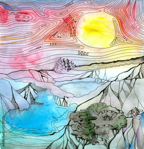 Fantasy landscape with mountains, lakes and trees. Colorful sky with bright yellow sun. Hand drawn picture.