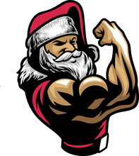 Vector Of Santa Claus Showing His Muscle Bicep