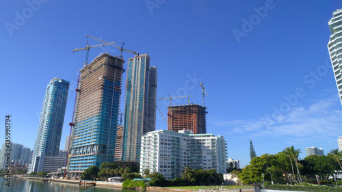 Stock photo of highrise construction sites at Edgewater Miami Florida