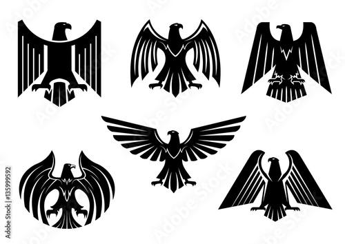 Fotografia Eagle blazon vector isolated heraldic birds icons