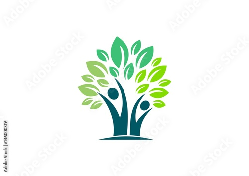 People Tree Health Ecology Nature Logo Leaves Healthy Life