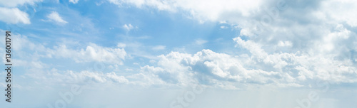 Poster de jardin Ciel Panorama of white cloud and blue sky in morning