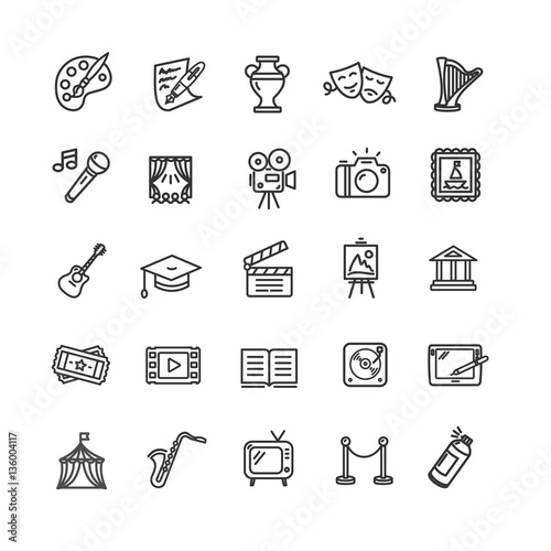 Fotografía  Culture and Creative Fine Art Icons Set. Vector
