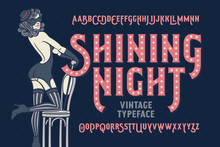 Vintage Cabaret Style Font With Beautiful Female Dancer Wearing Stocking, Gloves, Mask And Lingerie.