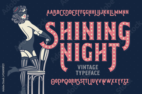 Stampa su Tela Vintage cabaret style font with beautiful female dancer wearing stocking, gloves, mask and lingerie