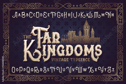 Vintage vector font Canvas Print