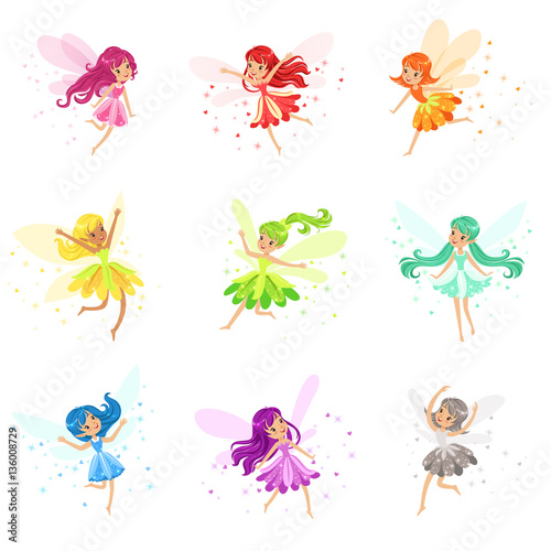 Fotografie, Tablou  Colorful Rainbow Set Of Cute Girly Fairies With Winds And Long Hair Dancing Surr