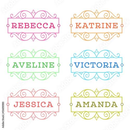 Photo Female names: Rebecca, Katrine, Aveline, Victoria, Jessica, Amanda