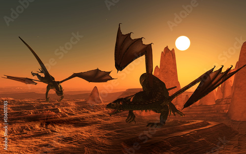Garden Poster Brown 3D dragons in fantasy landscape