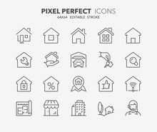 Real Estate And Homes Thin Line Icons 1