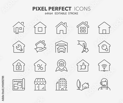 Cuadros en Lienzo real estate and homes thin line icons 1