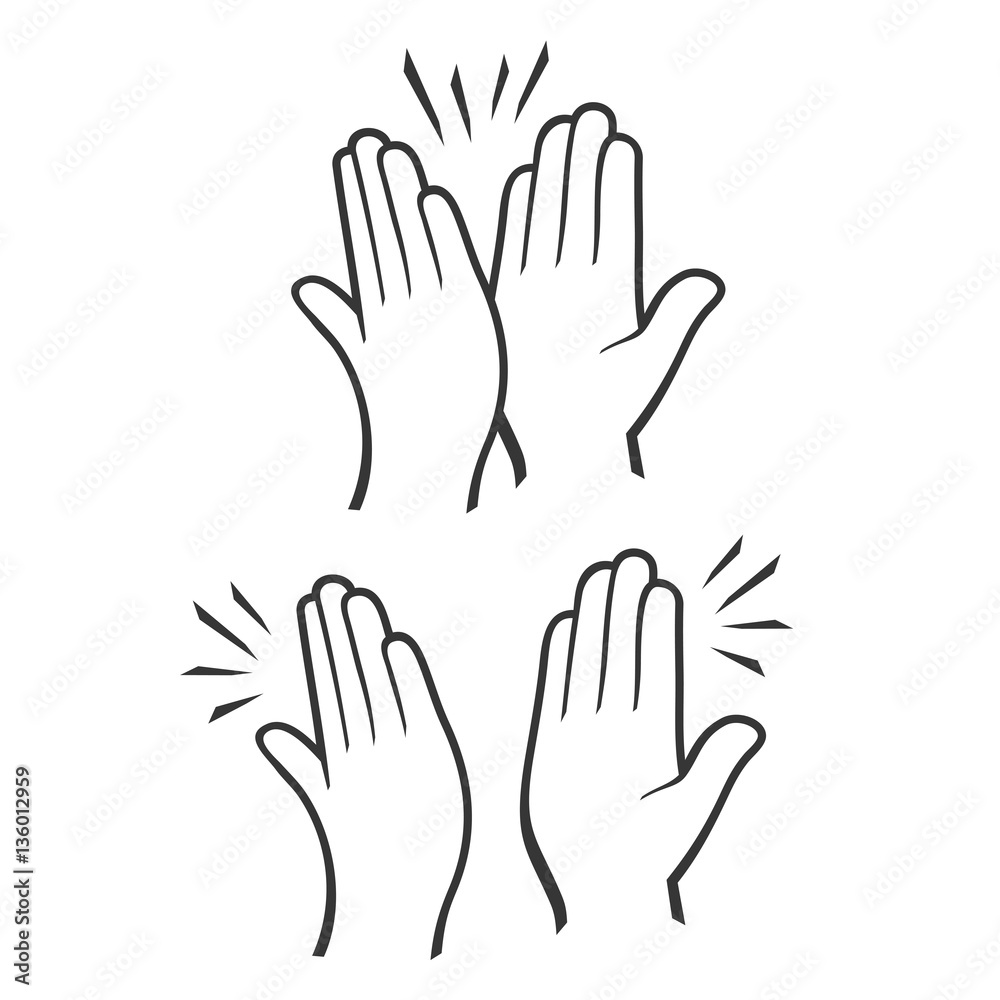 Fototapety, obrazy: Two Hands Giving a High Five Icons Set. Vector