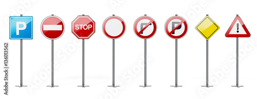 Traffic signs isolated on white background. 3D illustration