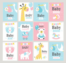 Set Of Baby Shower Cards. Vect...