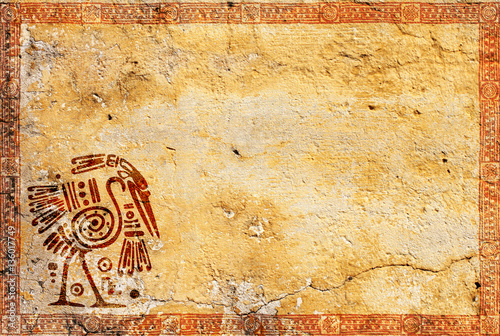 Leinwand Poster Grunge backgriund with American Indian traditional patterns