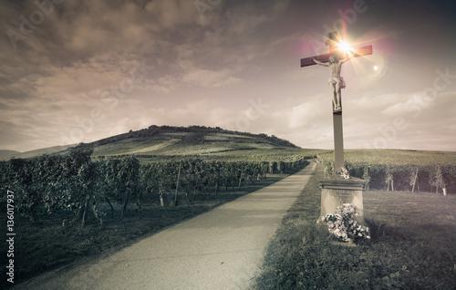 Poster Khaki Concept deuil cimetière avec croix