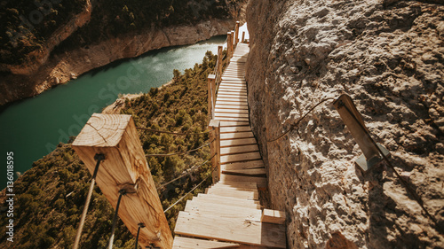 Deurstickers Canyon View to wooden path to Mont-Rebei Canyon, Lleida, Spain