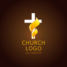 Shining Fiery Cross. Religious Vector Christian Church Logo. Crucifix Lighting Icon Gold Colored.