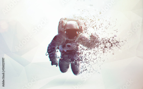 Astronaut in outer space modern minimalistic art Canvas Print