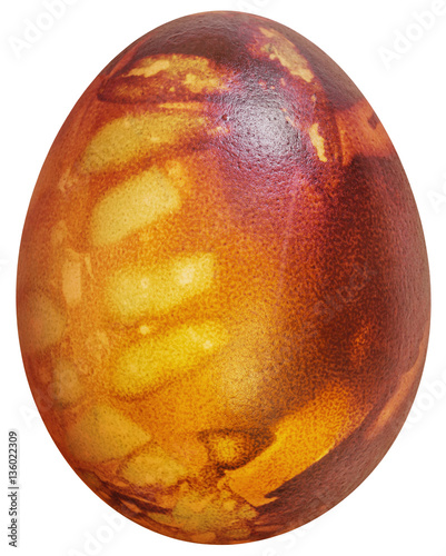 Fototapeta Easter Egg Red Dyed and Decorated with Leaves Imprints Isolated on White Background obraz na płótnie