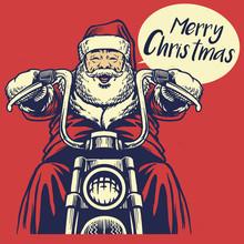 Santa Claus Ride A Motorcycle
