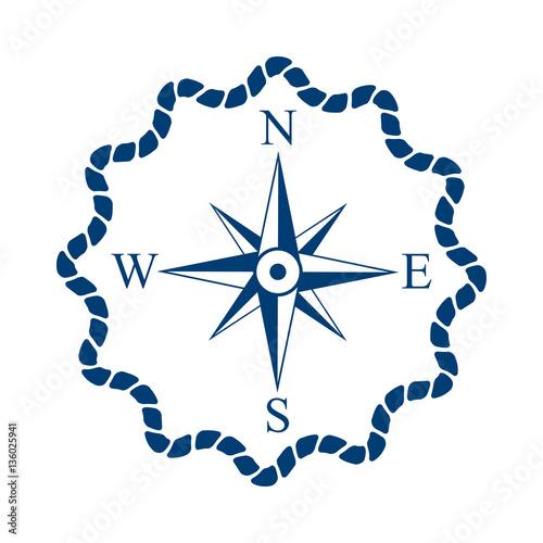 Fotografía  Icono plano marco de cuerda con Rosa de los vientos azul en fondo blanco