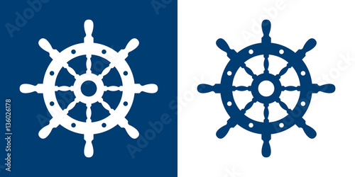 Photo Icono plano timon azul y blanco