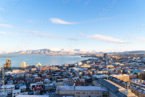 View of Reykjavik from the top of the Hallgrimskirkja Cathedral Slika na platnu