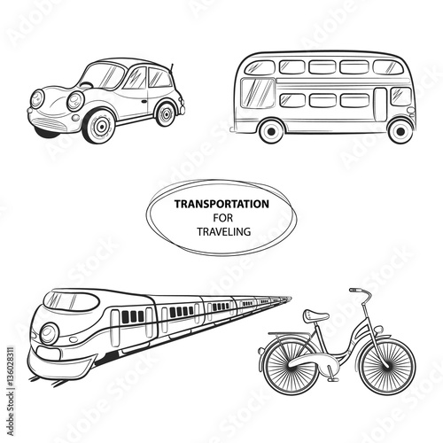 Hand Draw Sketch Transportation Travel Icons Train Bus Car