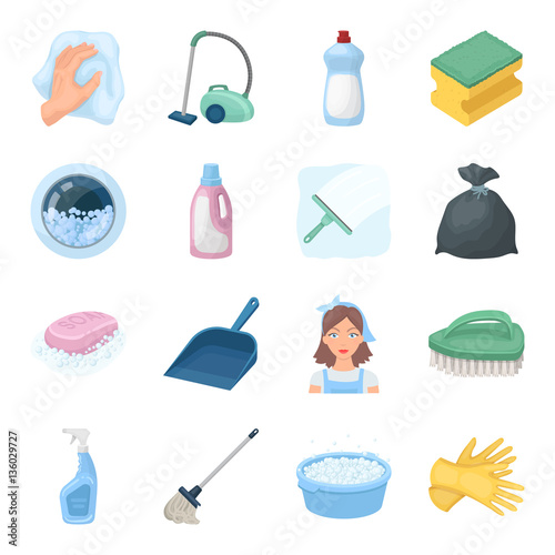 Fotografia, Obraz  Cleaning set icons in cartoon style