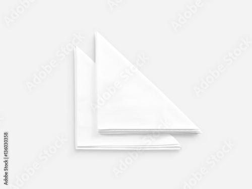 Fotografie, Obraz  Blank white restaurant napkin mock up, isolated