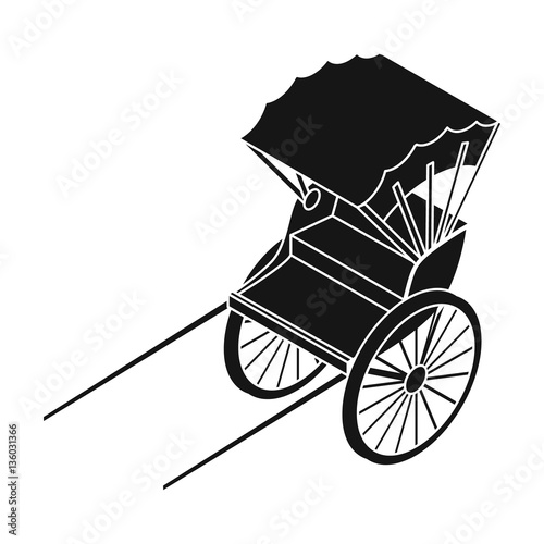 Valokuva Rickshaw icon in black style isolated on white background